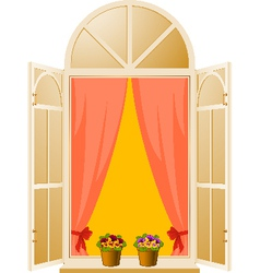 The Wood window with pansy in flowerpot vector image