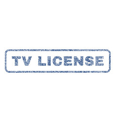 tv license textile stamp vector image vector image
