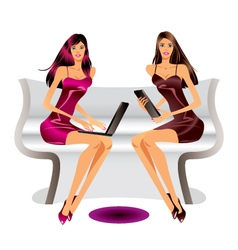 Two fashion models with laptop and tablet vector image vector image