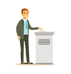 man putting a ballot into a voting box casting vector image