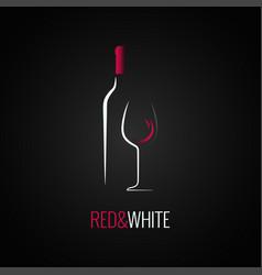 wine glass bottle logo design background vector image