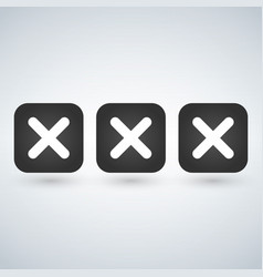 x symbol icon of 3 isolated sign symbol vector image