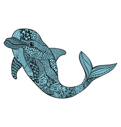 Zentangle stylized blue dolphin Hand Drawn aquatic vector image