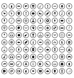 100 youth culture icons set simple style vector