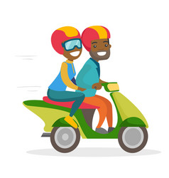 a man and a woman riding a motorcycle vector image