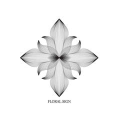 Abstract elegant flower logo icon line art design vector