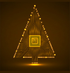 abstract technology christmas tree with vector image