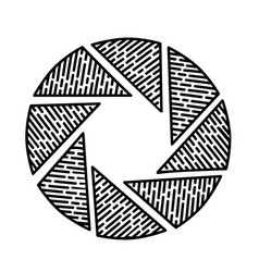 aperture icon doodle hand drawn or black outline vector image