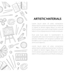 artistic materials banner template painter tools vector image