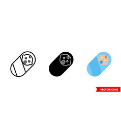 baboy icon 3 types color black and white vector image