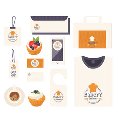 Bakery corporate identity items with emblem vector