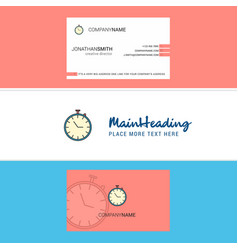 beautiful stop watch logo and business card vector image