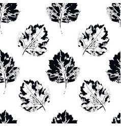 black and white seamless pattern howthorn leaves vector image