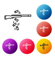 Black line gun shooting icon isolated on white vector