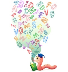 Bookworm with book of english alphabets vector