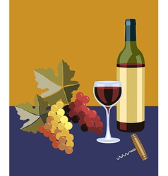 Bottle and glass of wine vector image
