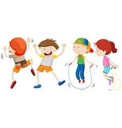 Boys and girl in different movement vector image