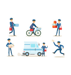 cheerful postman or mailman delivering mails and vector image