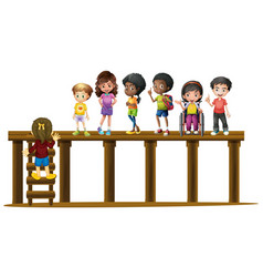 children standing on wooden log vector image