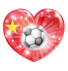 china soccer heart flag vector image
