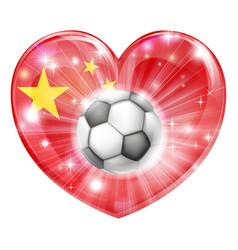 china soccer heart flag vector image