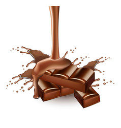 chocolate splash realistic delicious vector image