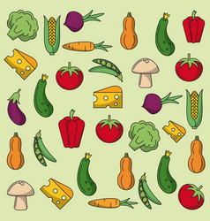 Colorful background with pattern of vegetables vector