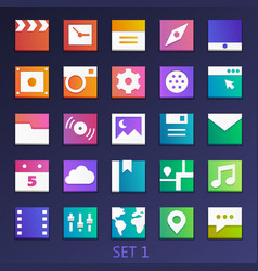 colorful flat square icons-set 1 vector image