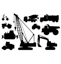 construction machines set heavy machines vector image