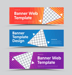 design horizontal banners with a triangular vector image
