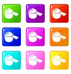 Detergent dose icons set 9 color collection vector