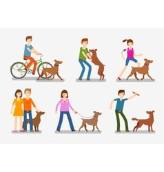 Dogs and people icons set Pets animals vector