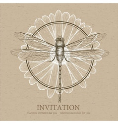 Dragonfly sketch Invitation card vector image