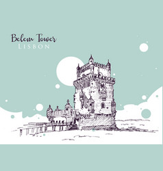drawing sketch belem tower vector image