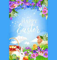 Easter egg basket bunny chicken and flower vector