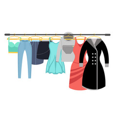 Female clothing wardrobe ladies colorful casual vector