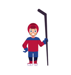 flat ice hockey player boy isolated vector image
