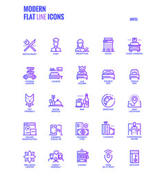 Flat line gradient icons design-hotel vector