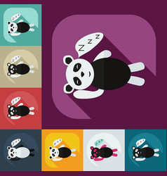 Flat modern design with shadow icons panda sleeps vector