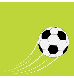 Flying football soccer ball with motion trails vector image