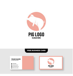 Flying pig logo design and business card template vector