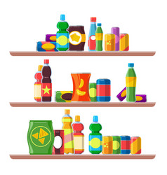 Food shelves grocery store aisle consumer vector