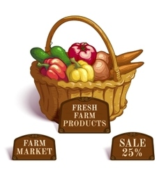 Fresh farm products composition vector