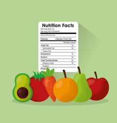 Fruit and vegetables healthy food nutrition facts vector