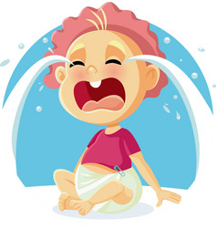 Funny baby crying cartoon vector
