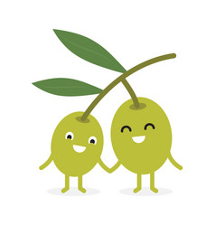 Funny happy cute smiling olives vector