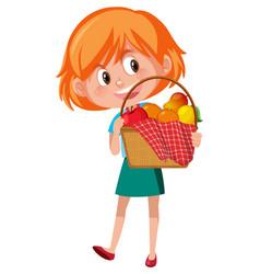 Girl holding picnic basket cartoon character vector