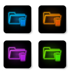 glowing neon delete folder icon isolated on white vector image