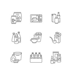 Grocery categories pixel perfect linear icons set vector