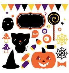 Halloween party set isolated on white vector